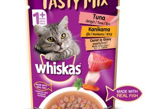 Whiskas Adult Tasty Mix Tuna with Kanikama in Gravy (Pack of 12)